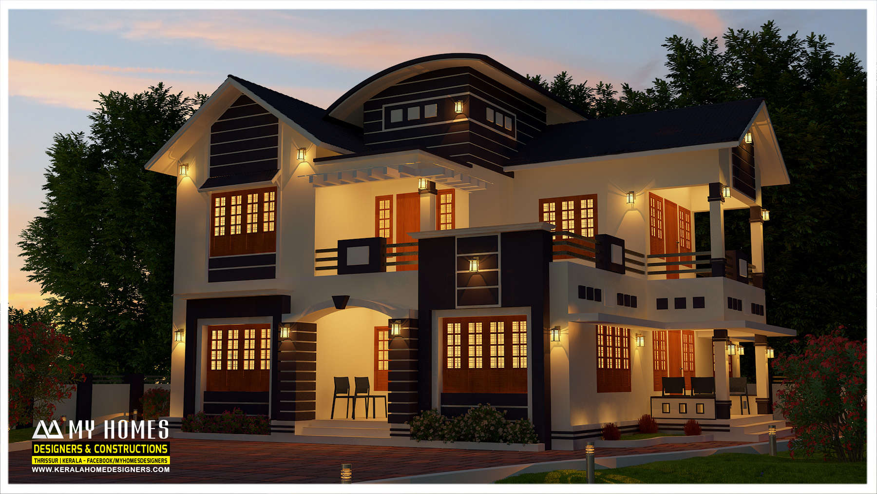 2450 Square Feet Double Floor 4 BHK Home Design within your budget