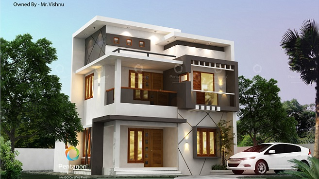 1405 Square Feet Double Floor Contemporary Home Design