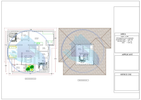 1451 Square Feet Double Floor Traditional Home Design