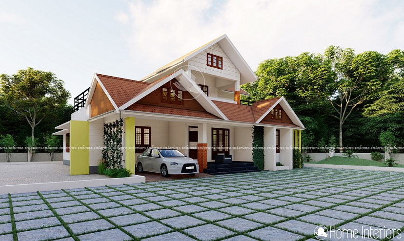 1984 Square Feet Double Floor Sloped Roof Home Design