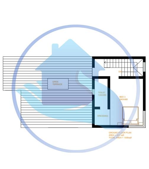1508 Square Feet Double Floor Contemporary Home Design