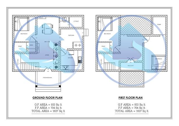 1637 Square Feet Double Floor Contemporary Home Design