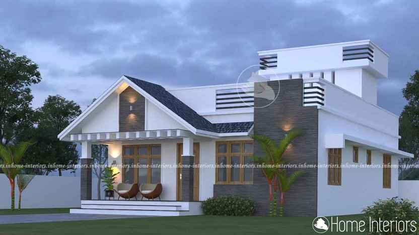 1300 Square Feet Single Floor Mixed Fusion Home Design
