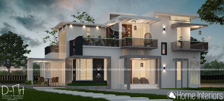 3195 Square Feet Double Floor Contemporary Home Design