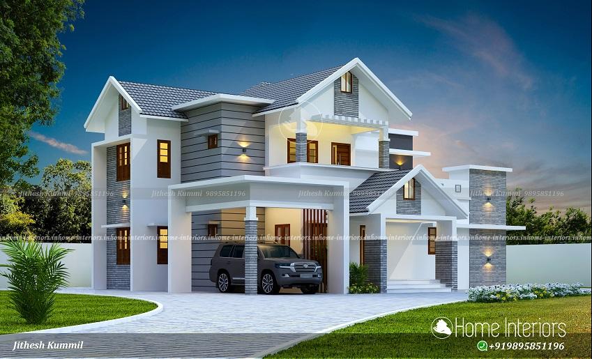 2305 Square Feet 4 BHK Semi Contemporary Home Design