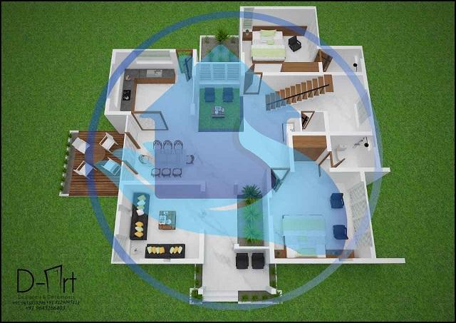 3195 Square Feet Double Floor Contemporary Home Design