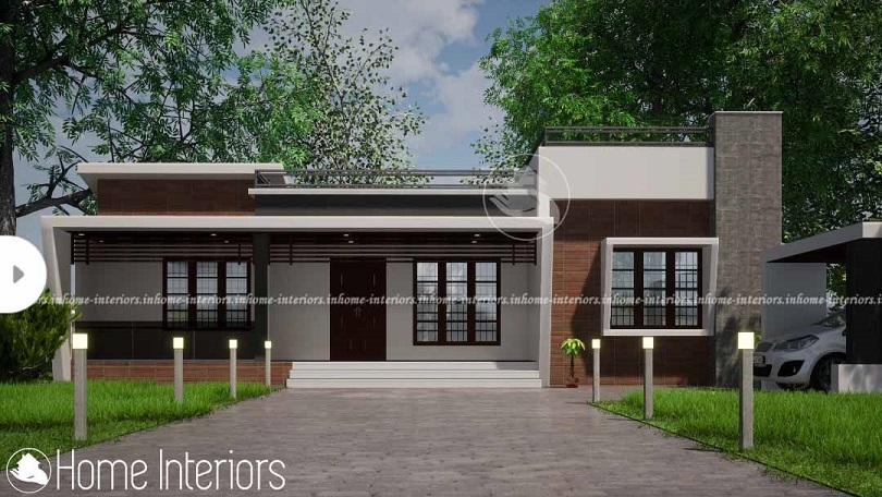 1600 Square Feet Contemporary Single Floor Home Design