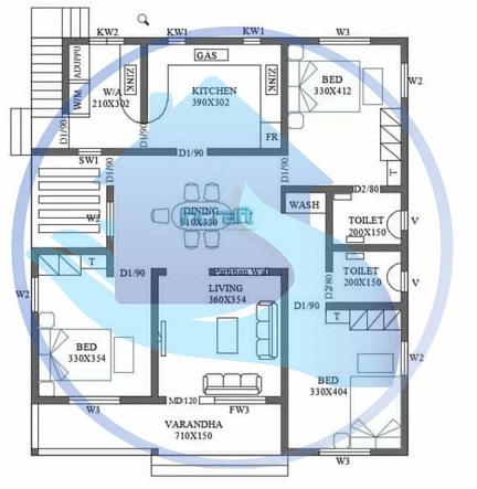 1600 Square Feet Contemporary Single Floor Home Design