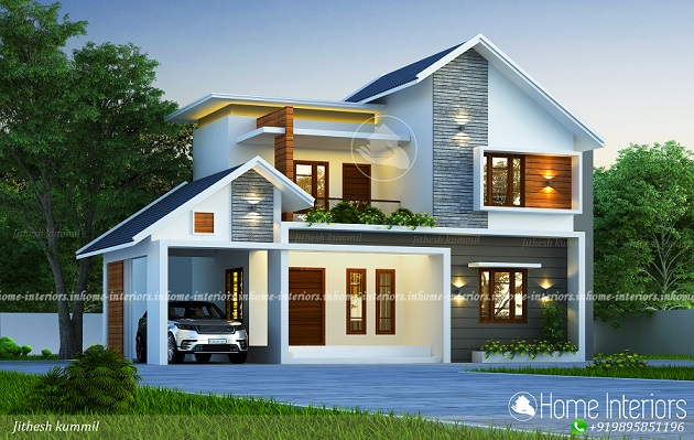 2500 Square Feet Mixed Roof Double Floor Home Design
