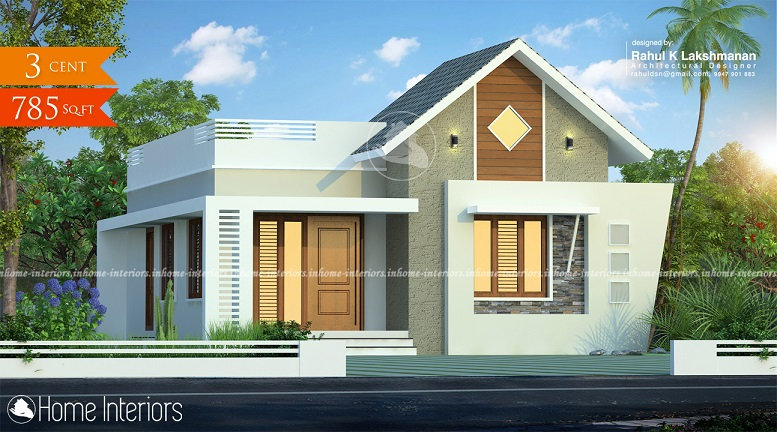 785 Square Feet Contemporary Single Floor Home Design