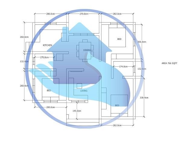 766 Square Feet Contemporary Single Floor Home Design